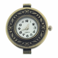 Antiqued Brass Floral Round Watchface for Beading