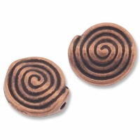 Antiqued Copper 11mm Spiral Round Beads (1PC)