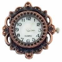 Antiqued Copper Fancy Round Watchface for Beading