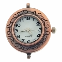 Antiqued Copper Floral Round Watchface for Beading