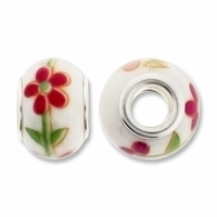 MIOVI™ Large Hole Porcelain Beads w/Silver Plated Grommet,14x9mm Red & Pink Floral Print White Porcelain Rondelle Beads (6PK)