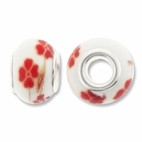 MIOVI™ Large Hole Porcelain Beads w/Silver Plated Grommet,14x9mm Red Floral Print White Porcelain Rondelle Beads (6PK)