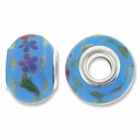 MIOVI™ Large Hole Porcelain Beads w/Silver Plated Grommet,15x11mm Floral Print Blue Porcelain Rondelle Beads (6PK)