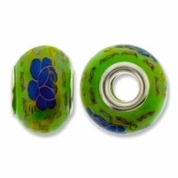 MIOVI™ Large Hole Porcelain Beads w/Silver Plated Grommet,15x11mm Floral Print Green Porcelain Rondelle Beads (6PK)