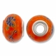 MIOVI™ Large Hole Porcelain Beads w/Silver Plated Grommet, 15x11mm Floral Print Orange Porcelain Rondelle Beads (6PK)