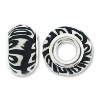 MIOVI™ Polymer Clay Beads w/Silver Plated Grommet,14x9mm Black White Design Rondelle Beads (6PK)