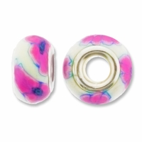 MIOVI™ Polymer Clay Beads w/Silver Plated Grommet,14x9mm Pink White Flower Design Rondelle Beads (6PK)