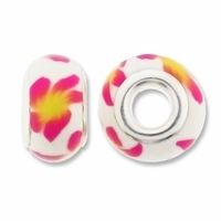 MIOVI™ Polymer Clay Beads w/Silver Plated Grommet,14x9mm Pink White Floral Rondelle Beads (6PK)