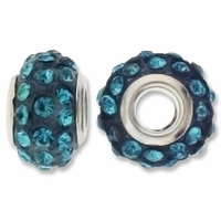 MIOVI™ Rhinestone Beads 15x9mm Large Hole Aqua Rhinestone Teal Resin Rondelles (1PC)