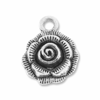Antiqued Silver 17mm Thai Style Flower Charm (10PK)