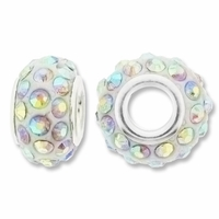 MIOVI™ Rhinestone Beads 15x9mm Large Hole Crystal AB Rhinestone White Resin Rondelles (1PC)
