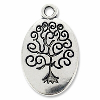 Antiqued Silver 24mm Spiral Tree Oval Charm (5PK)