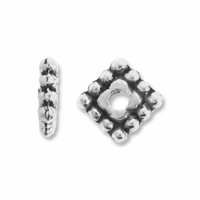 Antiqued Silver 5mm Beaded Square Spacers (10PK)