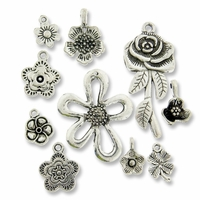 Antiqued Silver Mixed Flower Charms (10PK)
