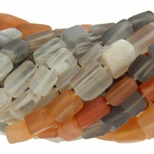 Multi-Color Moon Stone Rectangle 7x4mm Beads 15 inch Strand