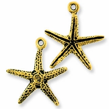Antique Gold Starfish Charm