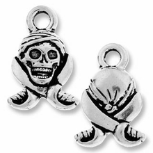 Antique Silver Pirate Skull Charm