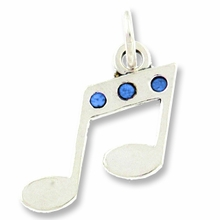 Musical Notes with Swarovski Crystal Charm