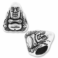 Silver Plated Buddha Large Hole Bead (1PC)
