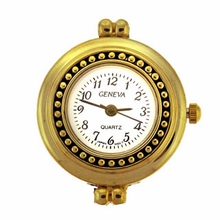 Gold Tone Round Beaded Watch Face