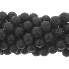 Black Lava 10mm Round Beads 16 inch Strand