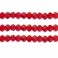Ruby AB 3x4mm Faceted  Crystal  Rondelle Beads 11.8 Inch Strand