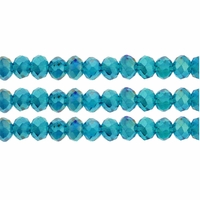 Teal AB 3x4mm Faceted  Crystal Rondelle Beads 11.8 Inch Strand