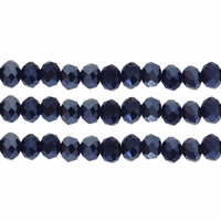 Hematite 3x4mm Faceted  Crystal Rondelle Beads 11.8 Inch Strand