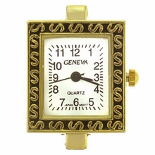 Gold Tone Decorative Square Watch Face