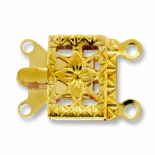 Gold Plated 2 Strand Filigree Box Clasp (1PC)