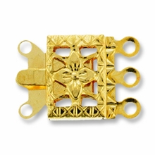 Gold Plated 3 Strand Filigree Box Clasp (4PK)