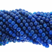 6mm Blue Agate Faceted Round Beads 15.5 inch strand