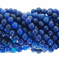 8mm Blue Agate Faceted Round Beads 15.5 inch strand
