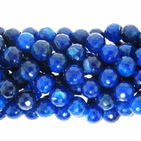 10mm Blue Agate Faceted Round Beads 15.5 inch strand