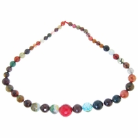 Graduated Round 6mm-16mm Mixed Faceted Brazil Agate Beads 15.5 inch Strand