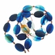 30x20mm Blue Lace Agate Flat Oval Beads 14 inch strand