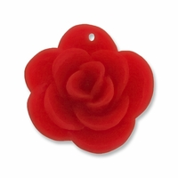 Red Rose Flower 28mm Synthetic Pendant (5PK)