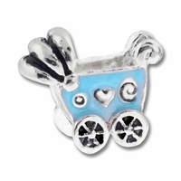 MIOVI™ Silver Plated Blue Enamel Baby Buggy LH Bead (1PC)