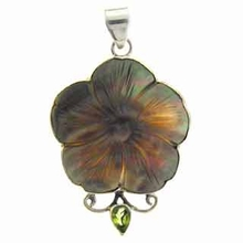 Peridot Carved Shell 925 Silver Pendant 64 x 32mm
