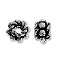 5mm x 4mm Sterling Silver Daisy & Rope Spacer Bead (1PC)