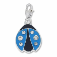 Silver Plated Blue Enamel Crystal Lady Bug Charm (1PC)