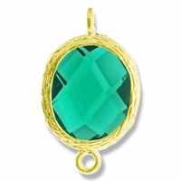 18K Gold Plated Faceted Emerald Crystal Cut Oval 1-1 Connector Connector(1PC)