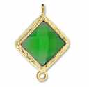 18K Gold Plated Faceted Emerald Crystal Cut Diamond 1-1 Connector (1PC)