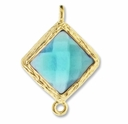 18K Gold Plated Faceted Aquamarine Crystal Cut Diamond 1-1 Connector (1PC)