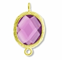 18K Gold Plated Faceted Amethyst Crystal Cut Oval 1-1 Connector Connector(1PC)