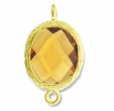 18K Gold Plated Faceted Topaz Crystal Cut Oval 1-1 Connector Connector(1PC)