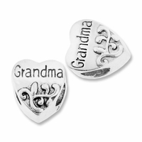MIOVI™ Silver Plated Large Hole 11mm Grandma Heart Bead (1PC)
