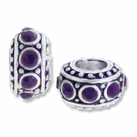 MIOVI™ Silver Plated Large Hole 10mm Bali Rondelle Bead (1PC)