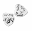 MIOVI� Silver Plated Large Hole 11mm Grandma Heart Bead (1PC)