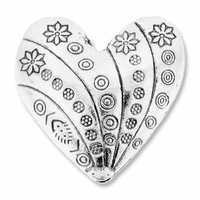 Large Thai Style 28mm Heart Bead (2PK)